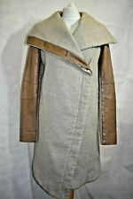Helmut Lang Linen & Wool Blend Coat with Leather Sleeves size S