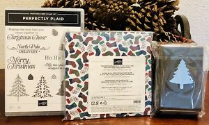 NEW Stampin Up Perfectly Plaid Suite - Pine Tree Punch, Wrapped in Plaid DSP HTF