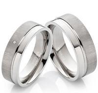 Verlobungsringe Eheringe Partnerringe aus Titan mit echtem Diamant TB007