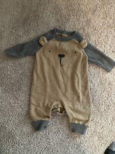 Gap Baby Boys One Piece Sweater Pajamas In Brown Bear - Size 0-3 Mos