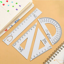 4pcs Metal Drawing Measurement Geometry Triangle Ruler Straightedge Protractor