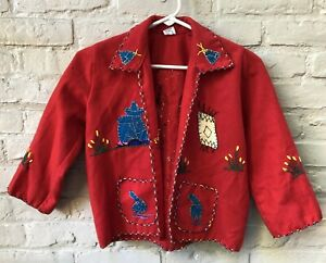 VINTAGE RED EMBROIDERED WOOL MEXICO SMALL CHILD'S SOUVENIR JACKET COAT