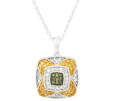 AffinityDiamond 1/2 ct tw Green & Yellow Pendant w/Chain Sterling 18""
