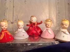 Vintage Christmas Angel Chenille Paper Mache Spun Cotton Felt Ornament Lot 5