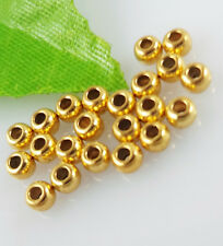 200pcs Metal Silver/Gold Round Small Loose Charm Spacer Beads Jewelry Findings