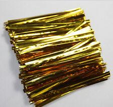 "1000PCS golden Metallic Twist Ties Gift Wrapping Bag Gift pack 3"" (8cm)"