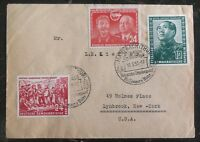1952 Manebach East Germany DDR Cover to New York USA Mao Tse Tung Stalin Stamps