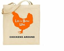 Tote bag with Printed I Love Chickens - Cotton tote - Shopping Bag For Life