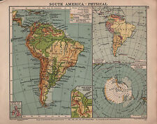 1938 MAP ~ SOUTH AMERICA PHYSICAL & POLITICAL ~ ANTARCTIC REGIONS
