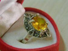 Anello in Argento con pietra Quarzo Citrino Giallo rotondo OMA19