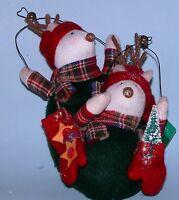 "Russ Berrie plush 2pc. set New #101461-2 ""Christmas Sampler"" ornament reindeer"