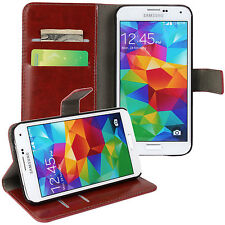 Brown Genuine Leather Card Money Wallet Phone Case Cover for Samsung Galaxy S5