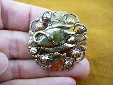 (b-bird-1301) Swan dance lake bird pin lily pad brass brooch pendant love swans