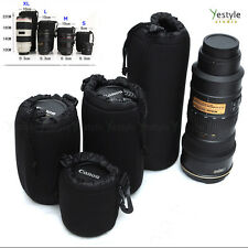 4PCS Waterproof Neoprene DSLR Camera Lens Protect Pouch Bag Case For Canon Sony