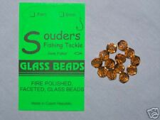 7mm Round, Faceted, Fire Polished Glass Beads - Brown