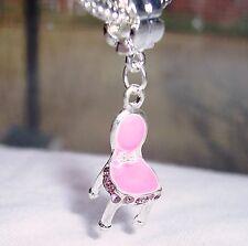 Pink Enamel Rhinestone Vanity Chair Girl Dangle Bead for European Charm Bracelet
