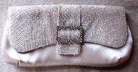 """Vintage 1980s """"Bijoux Terner"""" Beaded Purse Clutch Handbag Ivory Evening Bag"""