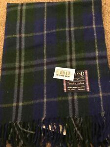 Scottish Tweeds 100% Wool Rug Blanket Blue Douglas  Tartan Check Throw Rug Warm