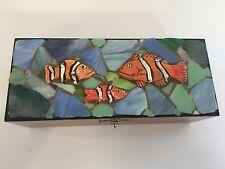 """Art Glass Mosaic by Jera Juniper Wood Trinket Box, 9 1/2"""" x 4"""" x 3"""" High"""