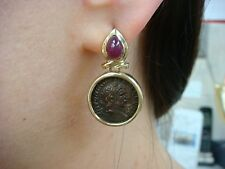 VINTAGE 14K YELLOW GOLD DANGLE EARRINGS WITH COPPER COIN AND CABOCHON RUBIES