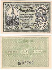 Germany 25 Pfennig 1920 Notgeld Katzhutte UNC Uncirculated Banknote