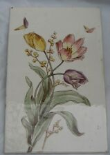 LARGE PERIOD PLAQUE TILE HAND PAINTED FLOWERS