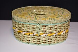 Vintage 1960's Singer Silk Top Wicker Sewing Basket! Green & Yellow!