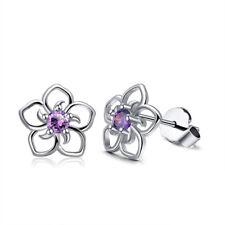 Graceful Women Fashion Silver Flower Ear Stud Earrings Crystal Rhinestone Gifts