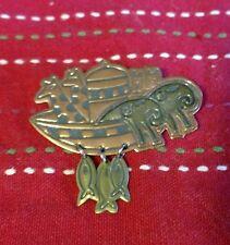 Hallmark Symbolic Notions Tri-Colored Copper Noah's Ark Brooch Pin Animals