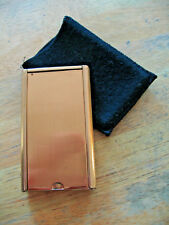 Vintage Swank Collapsible Pocket Purse Clothes Brush Gold Tone Case Fabric Bag