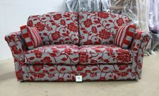 AMBER 3 SEATER SOFA MEGHAN CRANBERRY FLORAL RED FABRIC HIGH BACK COUCH SETTEE