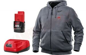NIB Milwaukee M12 302G-21L Heated Hoodie, Charger, Lithium Battery Large - Grey