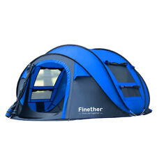 Waterproof 5 People Automatic Instant Pop Up Tent Blue Family Camping Tent US
