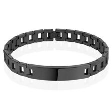 """Black IP Chains with ID Plate Mens Tungsten Carbide Bracelet Length: 8.27"""""""