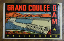ORIGINAL VINTAGE TRAVEL DECAL GRAND COULEE DAM WASHINGTON AUTO RV OLD CAR BUS VW