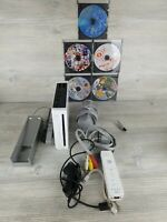 Nintendo RVL-001 Wii Console - White Bundle with 1controller with 5 games TESTED