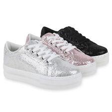 Damen Plateau Sneaker Lack Glitzer Turnschuhe Freizeit 821774 Schuhe