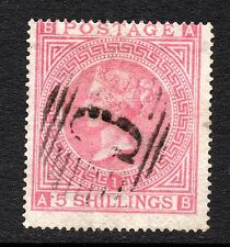 QV 1867 sg 126 plate 1    5/- used abroad with C pmk from Constantinople  ( A B