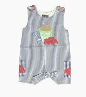 Baby Boy Romper Shortall Beach Kids 6 12 18 M Blue Stripes Summer Lil Cactus