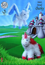 KNITTING PATTERN Unicorn &Pegasus Toy Tinsel Yarn KNITTING PATTERN KingCole 9065