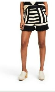 NEW Victor Glemaud x Target Women's Striped High-Rise Shorts Black & White 2XL