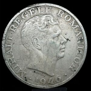 1946 Silver 25000 Lei Romania Mihai I UNC. KM 70