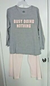Bobbie Brooks Woman's 2 Piece Pajama Set - BUSY DOING NOTHING - Plus Size: 3X