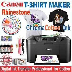 CANON  PRINTER MACHINE HEAT TRANSFER INK X COTTON T-SHIRT + RHINESTONE START