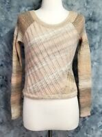 Free People Womens sz M Pink Brown Wool Ribbed Long Sleeve Pullover Sweater