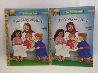 """NEW & VINTAGE 1996 Golden Books """"The Story of Jesus"""" My Coloring Book set of 2"""