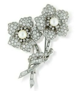 Two Flower Brooch Sim Diamond & Cultured Pearl Pave set Solid Wedding Jewelry