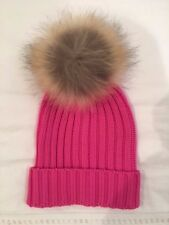 New Women's Pink Racoon Fur Pom Pom Cable Knit Hat by Somerville Scarves
