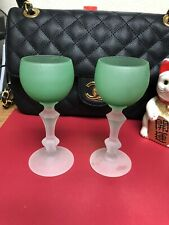 Tiny Wine Or Sherry Glasses Green Set Of Two