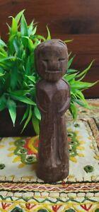 1800s Antique Old Wooden Hand Carved Female Figurine Decorative Putali Statue